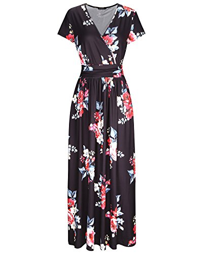 OUGES Women's V-Neck Pattern Pocket Maxi Long Dress(Floral-6,XXL) 1x1 Rib V-neck Top