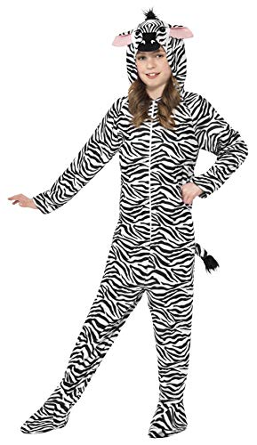 (Smiffys Children's Unisex All In One Zebra Costume, Jumpsuit With Hood,)