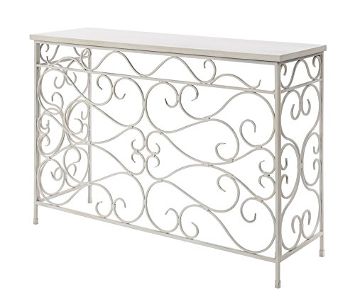 (Convenience Concepts Wyoming Metal and Wood Console, White)