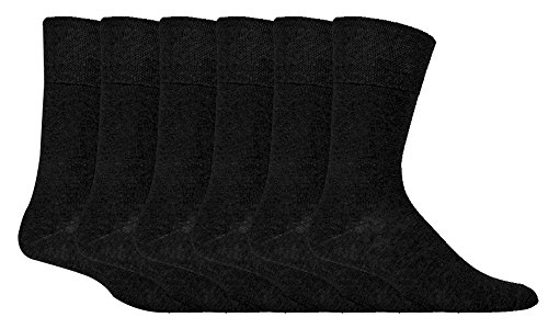 - IOMI - 6 Pack Mens Thin Non Binding Extra Wide Loose Top Cotton Diabetic Socks (7-12 US, Black)
