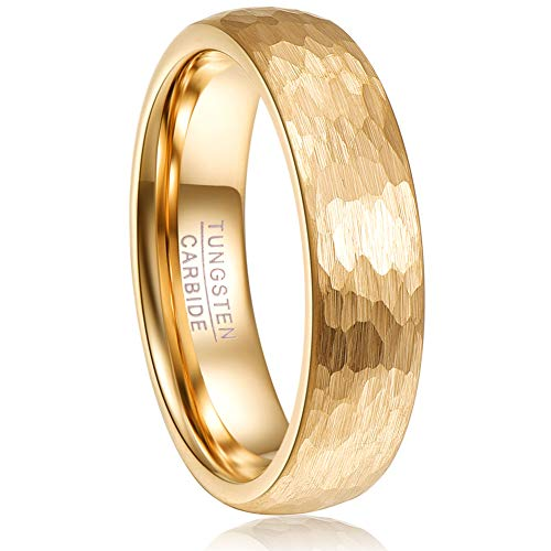 - VAKKI 6mm Gold Tone Hammered Tungsten Carbide Ring for Men Women Domed Wedding Band Size 12