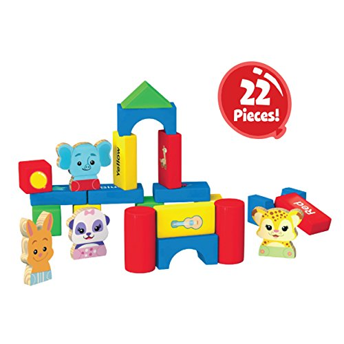Word Party My First Building Blocks, 22 Piece Wood Set - Lulu, Bailey, Franny, Kip and 18 Blocks of Different Shapes and Colors - from The Netflix Original Series -18+ - 1st Birthday Blocks