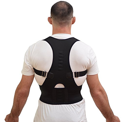Comfort Posture Support and Shoulder/Back Pain Relief Adjustable Back Brace with Under - Arm Support Cushion, Chest Sizes 26-36 (Black)