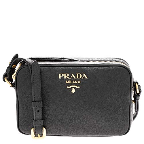 Prada Black Pebbled Calf Leather Shoulder Bag