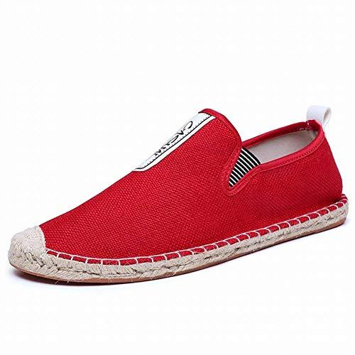 Oudan Polieren Tissées À De Toile Main Rouge coloré Étudiants Sport Paresseux La 44 Chaussures Chanvre Pour Pêcheur Taille rxwxSB6