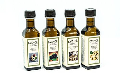 Gourmet Olive Oil Gift Set   Certified Extra Virgin Olive Oil   Mushroom Flavor 4-Pack 100ml Each Bottle   100% Natural Flavors   Porcini, Black Truffle, Mushroom Lover's Blend, and White Truffle