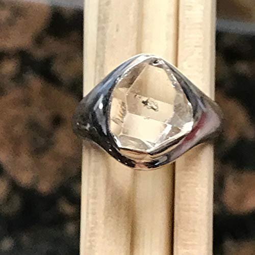 (Natural Herkimer Diamond 925 Solid Sterling Silver Cluster Unisex Ring sz 6.75)
