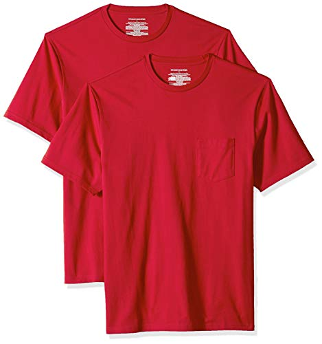 Amazon Essentials Men's 2-Pack Regular-Fit Crew Pocket T-Shirt, red, XX-Large for $<!--$12.00-->