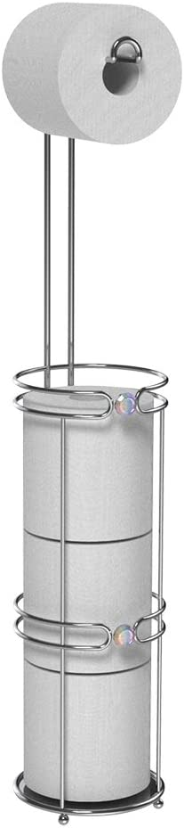 Inspired Living TOILET PAPER HOLDER RESERVE STAND TP TOWER, Irridescent Gem, SILVER
