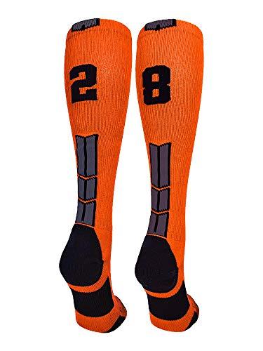 MadSportsStuff Orange/Black Player Id Over The Calf Number Socks (#28, Medium)