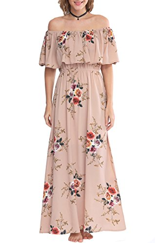 Zattcas Womens Off Shoulder Maxi Dress Summer Boho Long Floral Maxi Dress (XX-Large, Pink) (Twenties Dress)