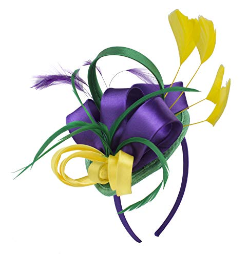 Felizhouse Fascinator Hats for Women Ladies Feather Cocktail Party Hats Bridal Headpieces Kentucky Derby Ascot Fascinator Headband (#1 Satin Mardi Gras) -