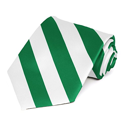 Satin Striped Extra Long Tie - TieMart Kelly Green and White Extra Long Striped Tie
