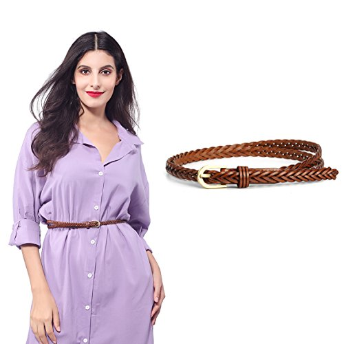 Women Braided Belts Faux Leather Woven Belt For Girls Fashion Waist Buckle Belt Strap,Camel 6,One Size (Brown Braided Women Belt)