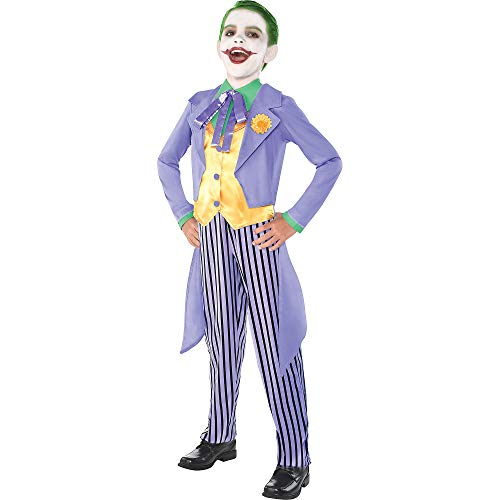 Batman And Joker Halloween Costumes (Costumes USA Batman Classic Joker Costume for Boys, Size Medium, Includes a Jacket with Tails and Striped)