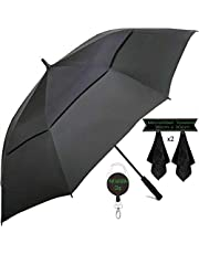 Large Golf Umbrella by DNR Australia, Double Canopy Windproof Design, 61 Inch Strong Vented Automatic Travel Umbrella, Perfect for Sun or Heavy Rain - Bonus Microfiber Towel & Retractable Keychain