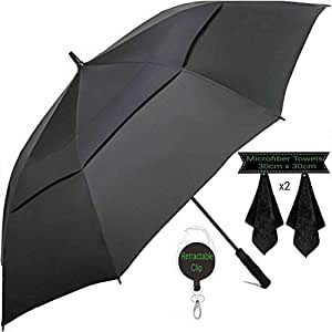 Large Golf Umbrella by DNR Australia, Double Canopy Windproof Design, 61 Inch Strong Vented Automatic Travel Umbrella, Perfect For Sun or Heavy Rain - Bonus Microfiber Towel & Retractable Keychain (Black)
