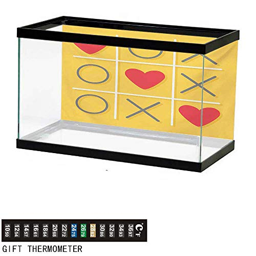 (Aquarium Background,Love,Tic-Tac-Toe Game with XOXO Design Let Me Kiss You Valentines Romantic Illustration,Yellow Red Fish Tank Backdrop 36