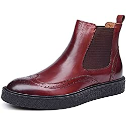 Zorgen New Men's Chelsea Boots Genuine Leather Round Toe Wedding Formal Dress Boots