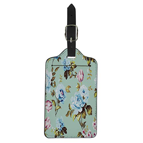 Pinbeam Luggage Tag Shabby Chic Vintage Roses Tulips and Forget Me Suitcase Baggage -
