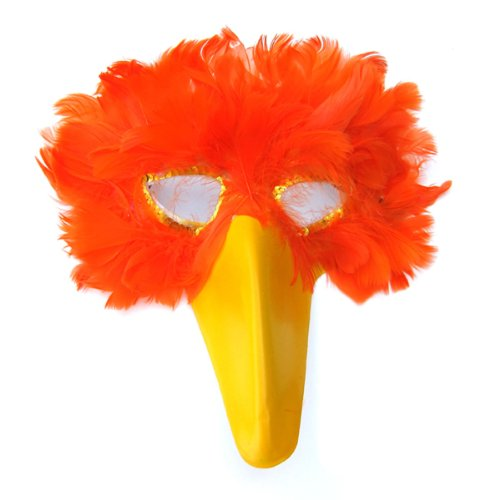 SACASUSA(TM) Orange Feather Bird Mask with Yellow Beak