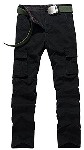 Rising ON Men's Casual Silm Fit Cotton Military Cargo No Belt Work Pants (Wearables Cargo Jacket)