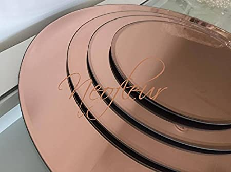 Neofleur Rose Gold Round Glass Mirror Plate Table Decoration ...