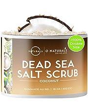 O Naturals Ultra Hydrating & Exfoliating Coconut Oil Dead Sea Salt Body Scrub. Skin Smoothing Cellulite Appearance Intensely Moisturizing Exfoliates Dead Skin. Sweet Almond, Argan Oil Men & Women 500g