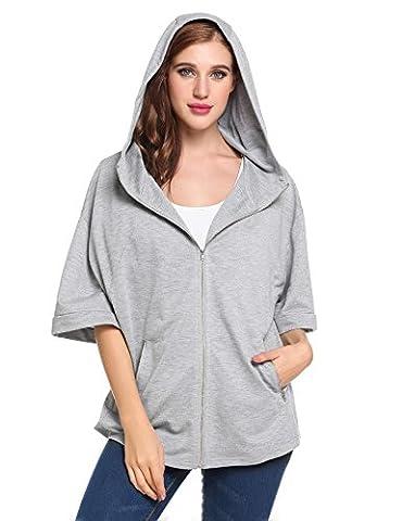 Mofavor Women's Zip-Up Active Hoodie Cardigan Jacket Grey XL - Short Sleeve Zipper