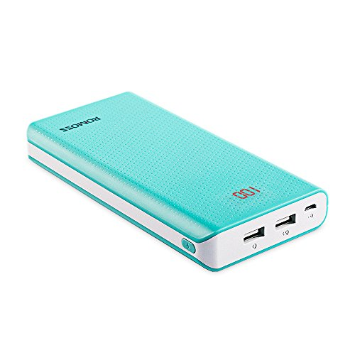 20000mAh 2-Port Power Bank, ROMOSS Sense 6 Large Capacity Portable Charger External Battery Packs with 2.1A / 1A Output and LED Indicator for iPhone Samsung Smartphone iPad and Tablet - Blue