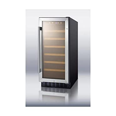 "Summit SWC1535B 15"" Built-In Undercounter Glass Door Wine Cellar with Lock and Digital Controls, Glass/Black"