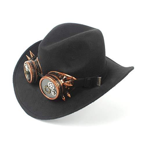 Chapeau Feutre Unie Hat Westerly Xhd chapeaux Couleur De Mode Noir Laine En Lunettes Rétro Gear Steampunk Vacances Party Denim Cowboy 5vgSqXnUg