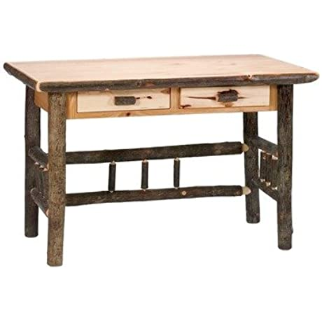 Fireside Lodge Furniture 87406 Standard Finish Hickory Writing Desk With Two Drawers Rustic Alder
