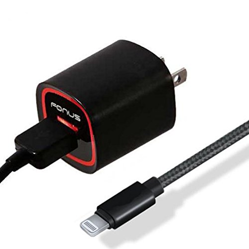 18W USB Adaptive Fast Home Charger 6ft MFI Cable Braided Adapter Wall Travel AC Power Smart Detect Long Data Cord Black for iPhone XR XS, XS Max, iPhone 6 7 8 Plus, 5s , iPhone X (10) - iPad Air, Pro