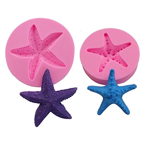 Efivs Arts Ocean Series Silicone Mold Fondant Mold Cupcake Cake Decoration Tool Starfish Set Large 3.58