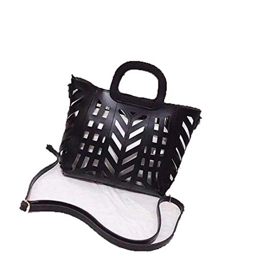 Hollow Out Bag H bags Two-Piece Openwork Bag PU Leather Shoulder Bag black