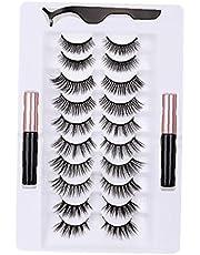 Magnetische wimpers met eyeliner Kit kunstwimpers met pincetapplicator 3D-look, 10 paar