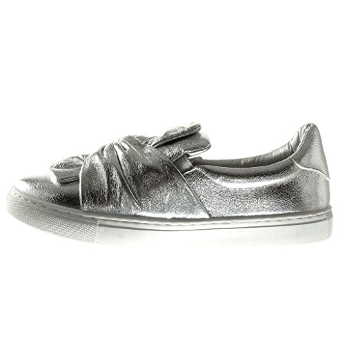 5 Noeud Femme Talon Chaussure On Plat Baskets Mode CM Papillon Brillant Slip 2 Angkorly YT7qg6xwn