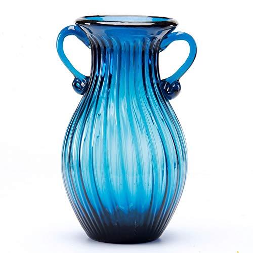 Sunkey Glass Flower Vase Hand Blown Glass Vase Elegant for Centerpiece Home Decor Navy Blue