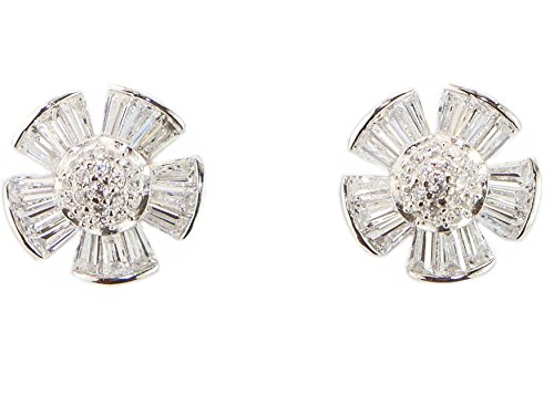 925 Sterling Silver Micro Pave stud earrings Hand Set Cubic Zirconia Cluster Flower Design Round Diamond Shaped Hypoallergenic Earrings (Sterling Silver) Round Prong Set Cluster Earrings