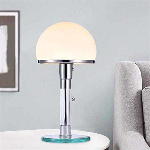 Disenador de luz LED de mesa Wilhelm Wagenfeld Bauhau Lamparas de mesa Luces de escritorio Dormitorio Estudio Lustres de noche Lamparas de vidrio LED Accesorios, una base de vidrio