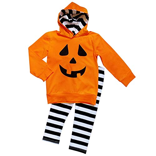 So Sydney Girls Halloween Pumpkin, Candy, or Cat - 2 Piece Ruffle Pants Outfit (L (5), Jack-O-Lantern Hoodie Set)]()