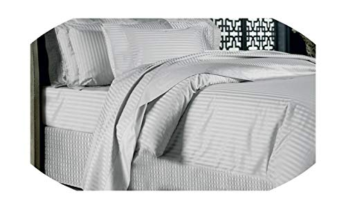 little-kawaii bedding set Cotton Queen King Super King Size White Light Beige Silvery Light Blue One Fitted Sheet 1 Piece,Silvery Stripe,Size K 183x191x50 cm ()