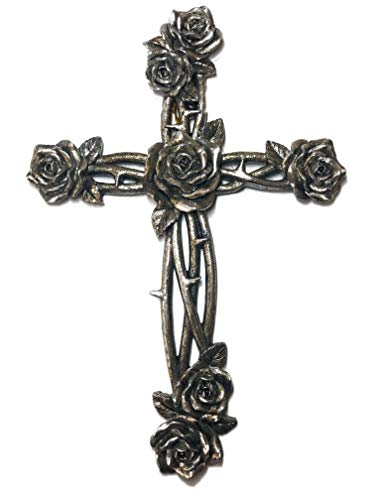 - Polly House 12 inch Metal Like Rose and Thron Wall Cross Home Decor