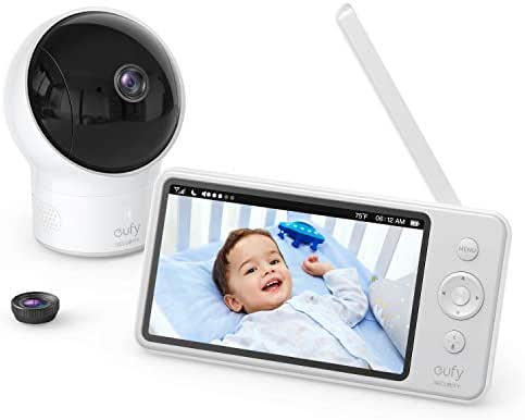 Video Baby Monitor, eufy Security Video Baby Monitor with Camera and Audio, 720p HD Resolution, Ideal for New Moms, 5 inch Display, 110° Wide-Angle Lens Included, Night Vision, Worry-Free Battery Life