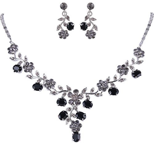 EVER FAITH Flower Leaf Necklace Earrings Set Austrian Crystal Silver-Tone - (Jet Crystal Necklace)