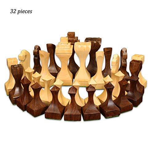Juegos tradicionales Ajedrez Creative Wood Chess Kids Desarrollo intelectual Aprender Juguetes Beige y Brown Piezas de…