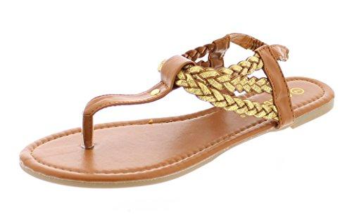 Gold Toe Women's Jalyssa Strappy Braided T-Strap Elastic Back Strap Thong Flat Sandal, Summer Flip Flops Cognac 9 US