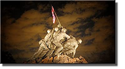 US Marine Corps War Memorial (Iwo Jima Memorial) Picture on Stretched Canvas, Wall Art Decor Ready to Hang!.