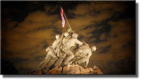 US Marine Corps War Memorial (Iwo Jima Memorial) Picture on Stretched Canvas, Wall Art Decor Ready to - Flag Iwo Marines Jima